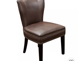 Jackie leather Accent Dining Chair Brown   Christopher Knight Home