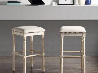 Arnhem Wood Upholstered Swivel Bar Stools  Set of 2  Retail 139 99
