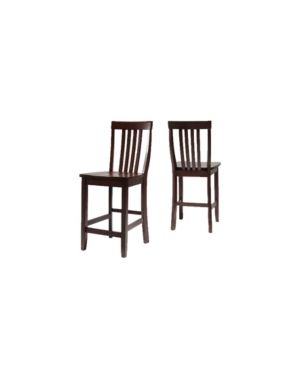 School House Vintage Mahogany Finish Rubberwood Bar Stool with 24 inch Seat Height  Set of 2  Retail 186 49