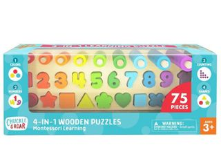 Chuckle   Roar Montessori Shapes   Numbers learning Puzzle 76pc