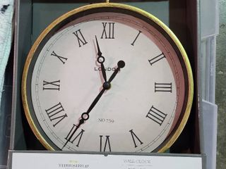 Threshold Wall Clock Aged Brass Finish 10 inch