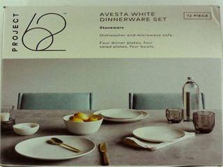 12pc Avesta Stoneware Dinnerware Set White   Project 62