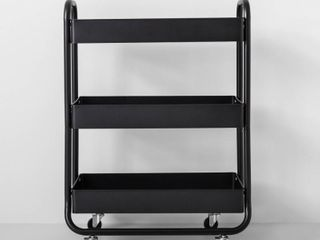 Wide Metal Cart With Wheels Black   Made By Design