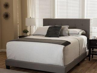 Baxton Studio Karpos Modern Upholstered Grid tufting Bed  Retail 163 49 fabic grey full