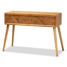 Mae Modern Natural Brown Finished Wood 2 Drawer Console Table  Retail 185 49 oak