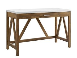 46  A Frame Desk with Natural Walnut Base and White Faux Marble Top