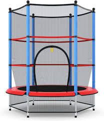 55  Kids Mini Round Trampoline with Safety Enclosure Spring Pad  Bulit in Zipper Heavy Duty Steel Frame for Indoor Outdoor  Retail 99 99