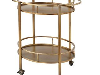 Devin Oval Metal Bar Cart Gold   lifestorey