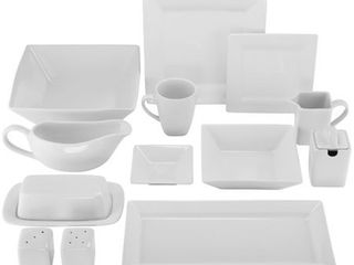 10 Strawberry Street Simply Square Porcelain Dining Set  40 Pieces  Retail 112 49