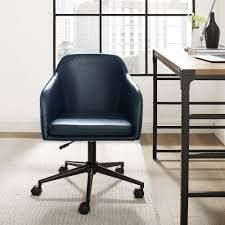 Carson Carrington Quilted Upholstered Swivel Office Chair  Retail 208 49 navy blue