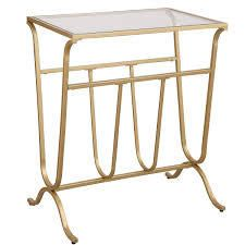 Westbury Magazine Rack Accent Table  Retail 121 49 gold and glass