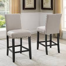 round hill furniture set of 2 pub chairs light gray fabric