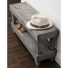 The Gray Barn Graceland Rustic Farmhouse Wooden Bench Seat  Retail 104 99 grey small