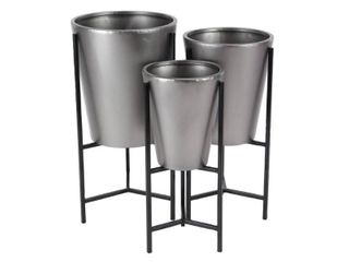 Set of 3 Modern Iron Conical Brown and Silver Planters with Stand  Retail 122 99