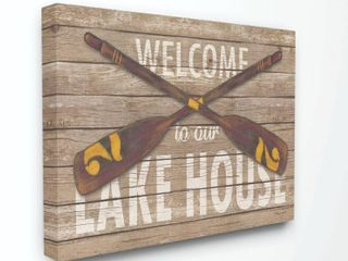 Stupell Industries Welcome lake House Country Home Word Design 16x20  Proudly Made in USA   Multi Color  Retail 99 99