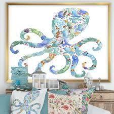 Designart  Octopus Made Of Octopus  Nautical   Coastal Framed Art Print  Retail 169 99