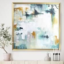 Designart  Teal and White Composition  Modern   Contemporary Framed Art Print  Retail 203 99