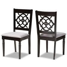 Renaud Grey Fabric and Dark Brown chairs set of 2