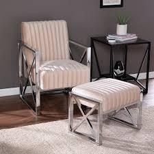 Silver Orchid Brent Velveteen Ottoman and Armchair Set  Retail 363 99 champagne