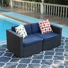 Phi Villa Rattan 2 pc coner only right hand both blue cushions