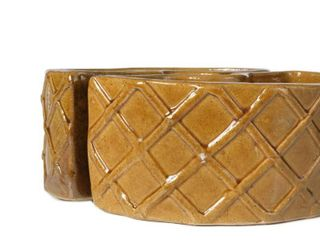 Alfresco Home Trellis Terra Gold tone Ceramic Umbrella Planter