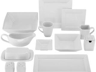 Simply Square Porcelain Dining Set  40 Pieces  Retail 112 49 cream white