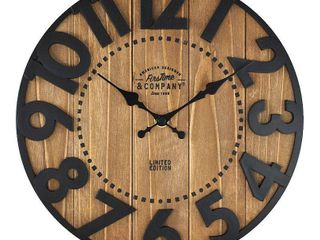FirsTime   Co  langton Farmhouse Wall Clock  American Crafted  Antique Brown  Wood  11 x 2 x 11 in   11 x 2 x 11 in