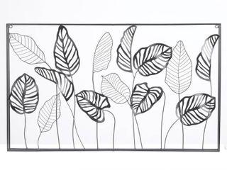 Metal Framed Horizontal leaf Wall Decor