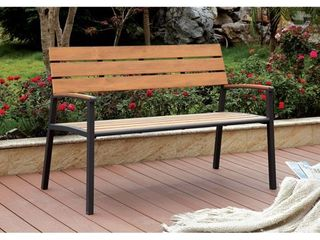 Furniture of America Jory Transitional Metal Slatted Outdoor Bench  Retail 203 99