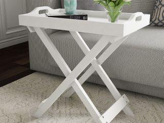 lavish Home 80 FT 11 End Table   White