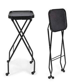 CAlEB Fold A Way Salon Service Tray BlACK Rolling Service Tray for Barber Shop  Salon Furniture   Equipment