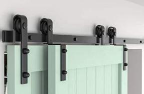 ZEKOO Bypass Sliding Barn Door Hardware Kit  Single Track  Double Wooden Doors Use  Flat Track Roller  low Ceiling  4 FT Single Track Bypass