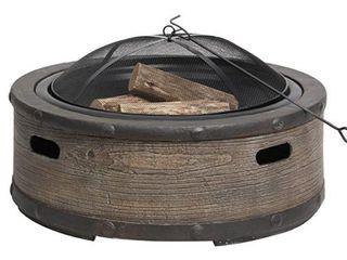 Sun Joe Sjfp35 stn brl 35 in  Cast Stone Base Wood Burning Fire Pit W dome