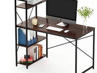 Bestier Computer Desk with Shelves  Reversible Writing Desk with Storage Bookshelf Home Office Desk Study Table Work Desk with Shelves Office Bookshelf Corner Desk Easy Assemble  Brown