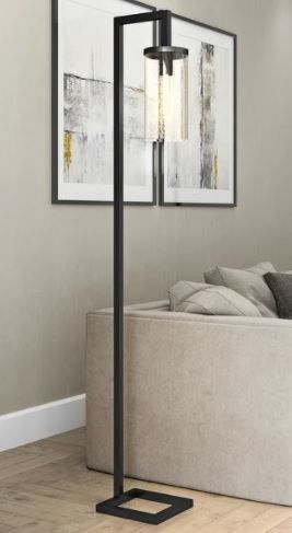 Malta Metal Glass Industrial Reading Floor lamp with Seeded Glass Shade in Blackened Bronze