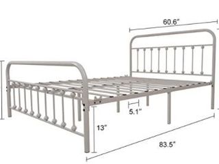 Queen size 60 x80  Metal Bed color White