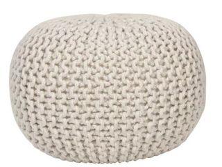 lola Round lurex Pouf White   Decor Therapy
