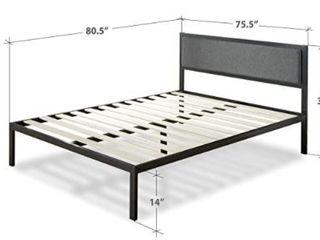 Zinus Korey 14  Steel Platform Bed Frame With Upholstered Headboard And Wood
