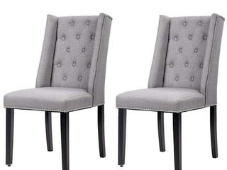 Set Of 2 Grey Elegant Dining Side Chairs Button Tufted Fabric