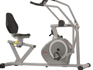 Sunny Health   Fitness Magnetic Recumbent Exercise Bike  350lb High Weight Capacity  Cross Training  Arm Exercisers