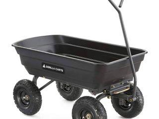 Gorilla Carts Poly Garden Dump Cart with Steel Frame and Pneumatic Tires Capacity