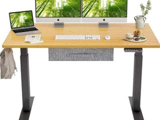 FEZIBO Electric Height Adjustable Standing Desk with Drawer  55 x 24 Inches Splice Board  Black Frame Bamboo Top
