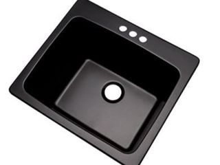Dekor Sinks 42399NSC Westworth Composite Utility Sink with Three Holes  25  Black Natural Stone