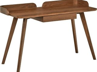 Amazon Brand  Rivet Mid Century Curved Wood Table Home Office Computer Desk  48 4 l  Walnut