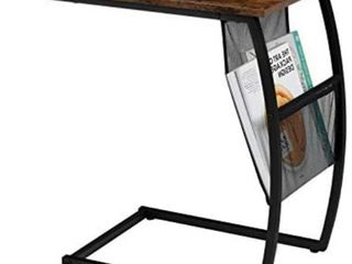 EKNITEY C Shaped Side End Table  Rustic Sofa Table Vintage Couch Table w Side Pocket for living Room