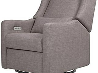 Babyletto Kiwi Electronic Power Recliner and Swivel Glider with USB Port in Grey Tweed  Greenguard Gold Certified