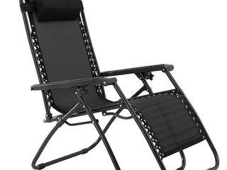 Outdoor Zero Gravity Chair with Adjustable Pillow Black