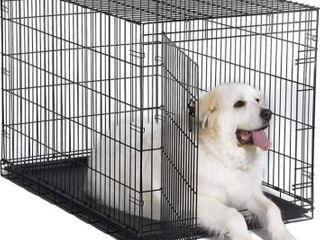 World 48  Folding Metal Dog Crate Includes leak proof Plastic Tray Dog Crate