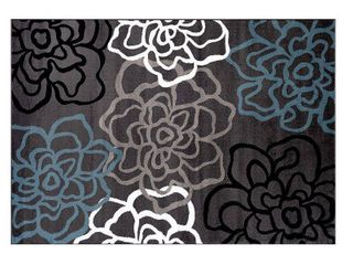 Contemporary Modern Floral Flowers Gray 6  6  x 9  Area Rug