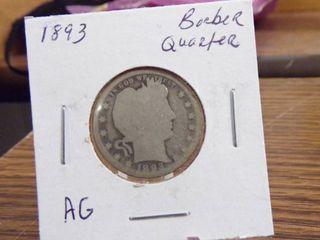 1893 BARBER QUARTER   AG
